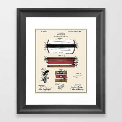 "Snare Drum Patent - Colour- 10""x12"" -Framed - Society6"