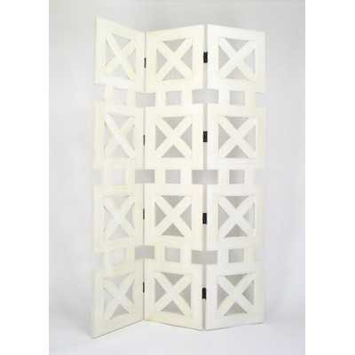 """78"""" x 54"""" Stacked Crate 3 Panel Room Divider - Wayfair"""
