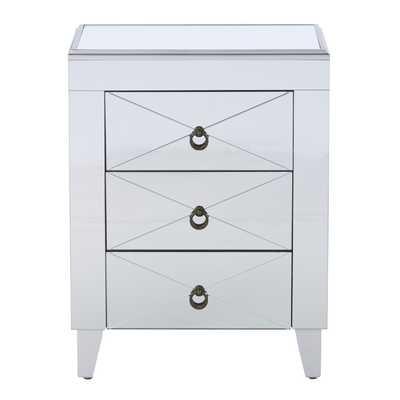 Almandine Mirrored 3 Drawer Side Table - Wayfair