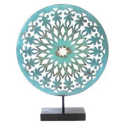 Decorative Medallion Figurine Metal - Teal - Target