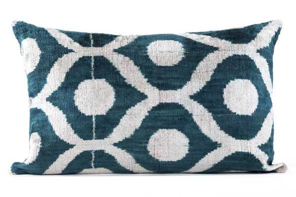"Silk Velvet Pillow -24"" L X 16"" W-down pillow insert - Domino"