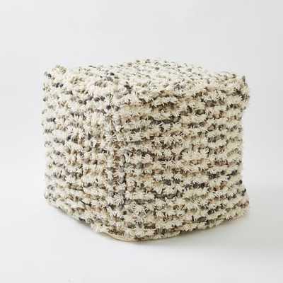 Popcorn Wool Shag Pouf - Ivory (Cover+Insert) - West Elm