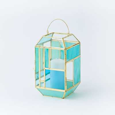 Paneled Glass Lanterns - Colored - West Elm