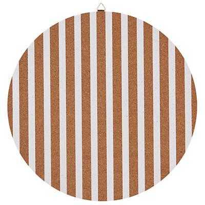 "16"" White Stripe Perfect Circle Cork Board - Land of Nod"