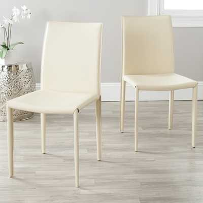 Safavieh Jazzy Bonded Leather Cream Side Chair (Set of 2) - Overstock