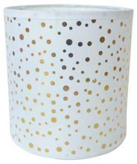 Polka Dot Drum Lamp Shade, White/Gold - One Kings Lane