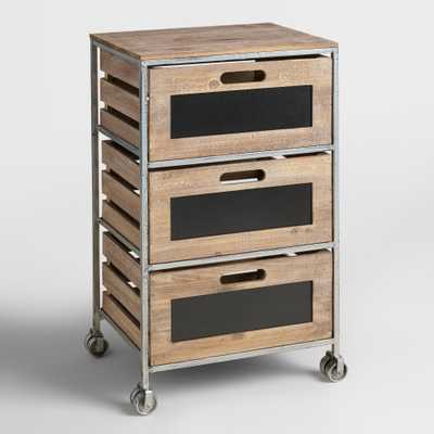 Wood and Metal 3-Drawer Mackenzie Rolling Cart - World Market/Cost Plus