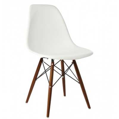Set of 4 Eames Style DSW Molded White Plastic Dining Shell Chair - emoderndecor.com