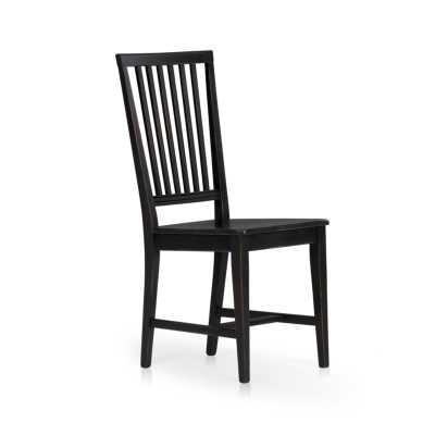 Village Bruno Black Wood Dining Chair - Crate and Barrel