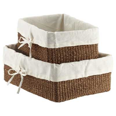 Goldenrod Lined Makati Baskets - small - Conde Nast Trade