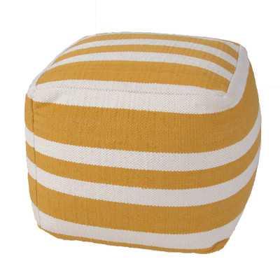 Pasco Stripe Cotton Pouf Ottoman - Yellow / Gold - Wayfair