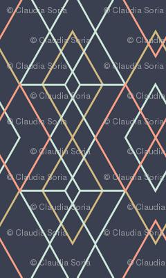 Geometric Grid - Dark Blue - Spoonflower