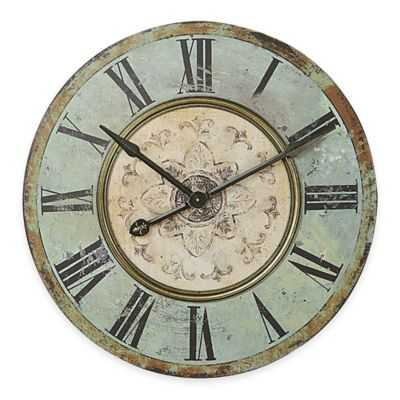 Large Distressed Wood Wall Clock in Blue/Green - Bed Bath & Beyond