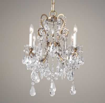 Manor court crystal 4-arm chandelier aged gold - RH