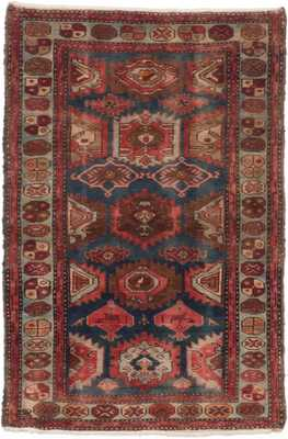 Hand-knotted Hamadan Dark Faded Blue, Red Wool Rug - ecarpetgallery.com