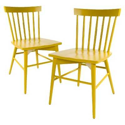 Windsor Dining Chair Wood (Set of 2) - Yellow - Target