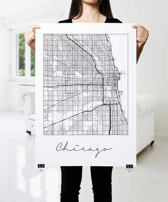 CHICAGO Map Print, Modern City Poster, Black and White Minimal Wall Art for the Home Decor - Etsy
