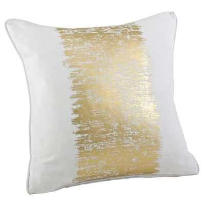 "Agatha Metallic Banded Cotton Throw Pillow-20"" x 20""-White/Gold-Down/Feather Insert - Wayfair"