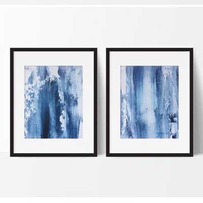 Two 8x10 dark prussian blue and white abstract - Etsy