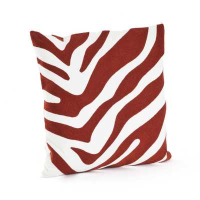 "Zebra Design Throw Pillow - 17"" - Taupe - Down Filled - Overstock"
