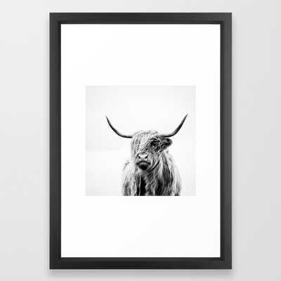 "Portrait of a highland cow - 15"" x 21"" - Framed - Society6"