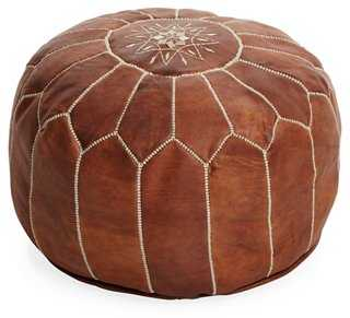 Moroccan Leather Pouf, Natural Brown - One Kings Lane