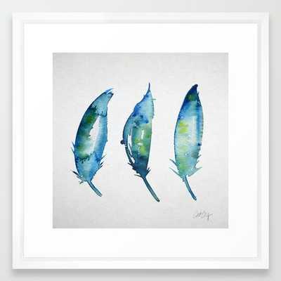 "3 Bluebird Feathers - 22"" x 22"" - Framed - Society6"