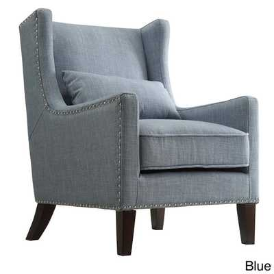 Henry Wingback Nailhead Upholstered Club Chair - Blue - Overstock