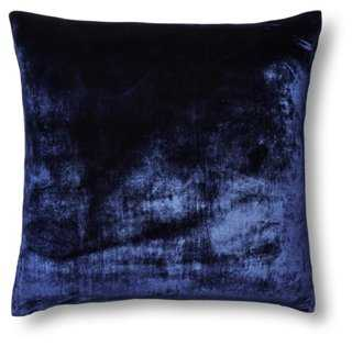 Silk Velvet/Chambray 22x22 Pillow - One Kings Lane