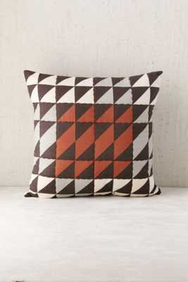 "Assembly Home Claye Quilted Triangle Brown 18"" SQ Pillow with insert - Urban Outfitters"