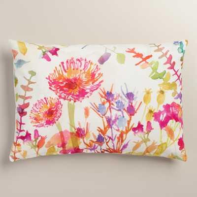 Watercolor Thistle Cotton Lumbar Pillow - World Market/Cost Plus