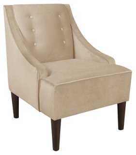 McCarthy Swoop-Arm Chair, Velvet Pearl - One Kings Lane