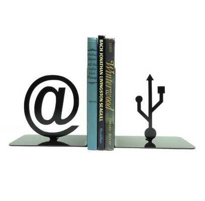 At Symbol and USB Symbol Metal Art Bookends - Etsy