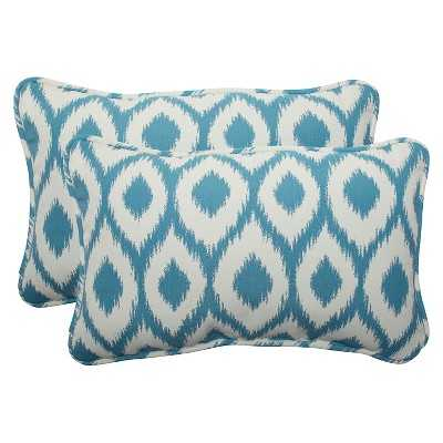 "2-Piece Lumbar Throw Pillow Set - Blue/Off-White - 18.5""L x 11.5""W - Polyester insert - Target"