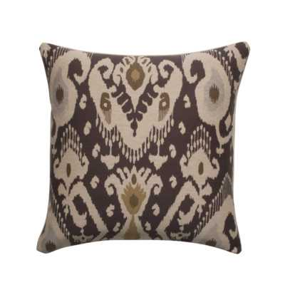 Ikat Designer Filled Woven Throw Pillow - Brown - 18sq. - Polyester insert - Wayfair