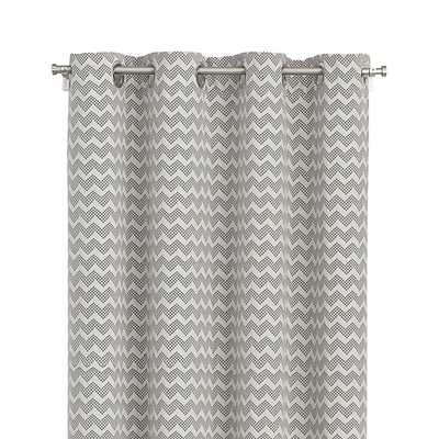 Reilly Grey Chevron Curtain Panel - Crate and Barrel