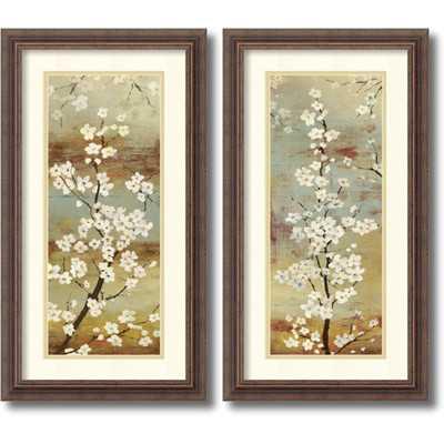 Asia Jensen 'Blossom Canopy- set of 2' Framed Art Print 14 x 26-inch Each - Overstock