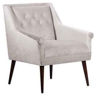 Bejal Tufted Accent Chair, Dove Velvet - One Kings Lane