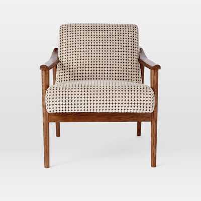 Mid-Century Show Wood Upholstered Chair - Flocked Velvet, Stone Dot - West Elm