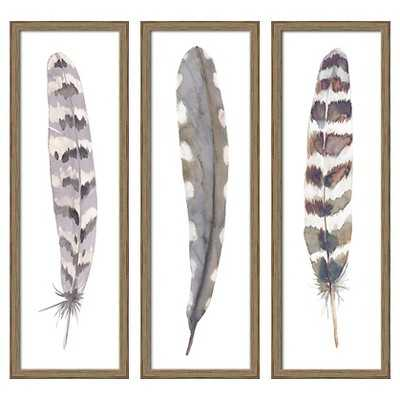 """12""""X36"""" Framed 3-Pack Feathers - Target"""