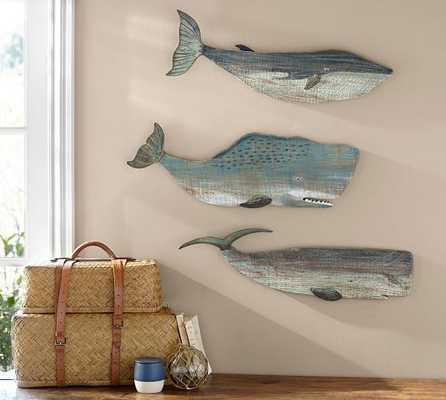 Painted Wood Whales Wall Art Set - Pottery Barn