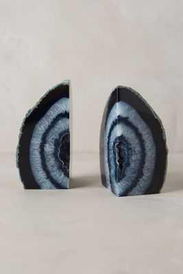 Hand-Cut Agate Bookends - Blue, Medium - Anthropologie