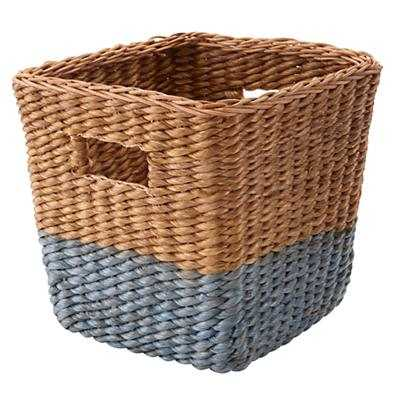 Blue Rattan Cube Basket - Land of Nod