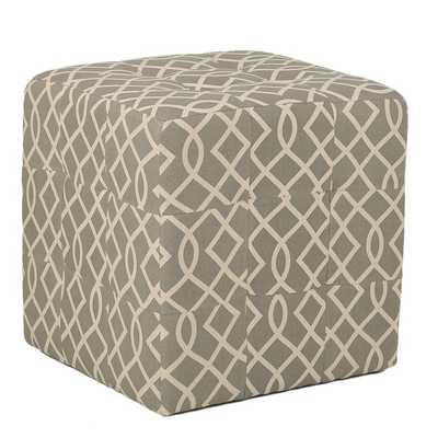 Cortesi Home Grey Tufted Cube Ottoman in Linen Fabric - Overstock