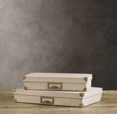 LINEN DOCUMENT BOX SAND - RH