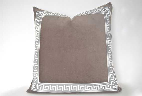 "Grey Pillow with Greek Key Trim - 24"" x 24"" - Insert sold separately - Etsy"