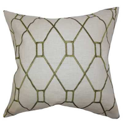 Nevaeh Geometric Down Fill Throw Pillow Green, 18''SQ,/Insert included - Overstock