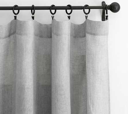 "Belgian Linen Flax Sheer Drape - 50"" x 108"", Gray - Pottery Barn"