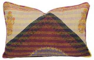 Kashmiri Flowers Silk Kantha Pillow - One Kings Lane