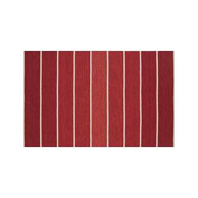 Bold Red Striped Wool-Blend Dhurrie 5'x8' Rug - Crate and Barrel